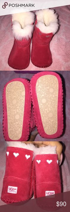 Ugg boots Red UGG boots with white hearts going around . Fur on the inside , never worn! UGG Shoes Boots