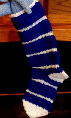 Christmas Stocking Crocheted in Royal Blue