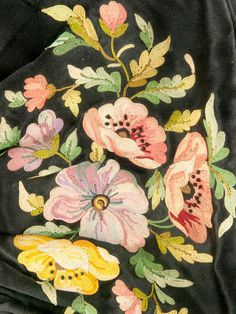 Detail of the spellbinding tambour embroidery work - pale pinks rich roses, pale blue and rose lavender, shades of gold with ivory to flatter, ombre green foliage - all lovingly accented with blonde, brown and black...