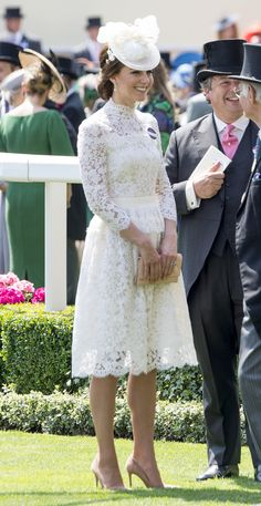 ASCOT, ENGLAND - JUNE 20:  Catherine, Duchess of Cambridge attends Royal Ascot 2017 at Ascot Racecourse on June 20, 2017 in Ascot, England.  (Photo by Mark Cuthbert/UK Press via Getty Images) via @AOL_Lifestyle Read more: https://www.aol.com/article/lifestyle/2017/06/20/kate-middleton-ascot-white-lace-alexander-mcqueen/22491862/?a_dgi=aolshare_pinterest#fullscreen