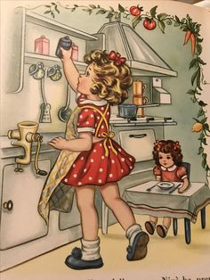 Wonderful old children's book illustration: girl with her doll.(Anna Franzoni e i suoi bimbi) Clip Art Vintage, Vintage Children's Books, Vintage Dolls, Vintage Apron, Vintage Greeting Cards, Vintage Postcards, Vintage Pictures, Vintage Images, Girl Cooking