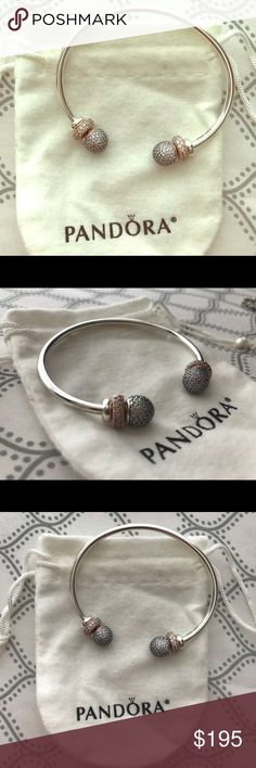 Pandora Open Bangle cuff + Pandora Rose spacers Authentic Pandora Open Bangle, plus two pandora rose spacers and silicon sterling silver stoppers. Brand new. Pandora Jewelry Bracelets