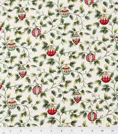 Holiday Inspirations- Vintage Poinsettias Metallic Fabric: holiday fabric: fabric: Shop | Joann.com