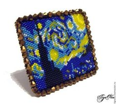 Bead Embroidery Jewelry, Beaded Embroidery, Vincent Willem Van Gogh, Van Gogh Paintings, Brick Stitch, Bead Weaving, Cross Stitching, Beading Patterns, Diy Crafts