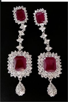 Chandelier earrings online india 200ct solid gold real certified buy 400 ct diamond ruby gold earrings khannajewels aloadofball Image collections
