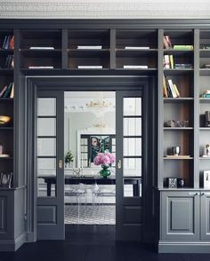 Store your treasured objects books, and beyond with the top 60 best built in bookcase ideas. Explore bookshelf designs featuring living rooms to offices.Grey Doorway Exceptional Built In Bookcase Ideas Home Library Rooms, Home Library Design, Home Libraries, Home Office Design, Home Interior Design, House Design, Interior Office, Bookshelf Design, Bookshelves Built In