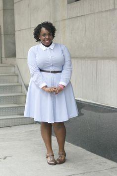 1b86f6420ca Pin Stripe Shirt Dress - Plus Size Fashion for Women Winter Office Wear