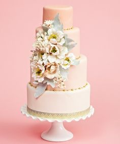 Gorgeous blush pink rustic floral Wedding Cake by 'The Caketress' in Toronto