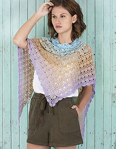 #480 Spring Rainbow Shawl -  free crochet pattern in multiple languages at Katia Website