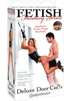 FF DELUXE DOOR CUFFS - Turn any ordinary door into an erotic bondage playground with these incredible Deluxe Door Cuffs. Simply drape 2 metal tubes over the top of an open door, close and lock the door, and your partner is securely restrained between the door and the door frame. The sturdy metal tubes hold securely when the door is closed without scuffing or damaging the door, and there`s no need for modification or fancy hardware.