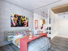Un dormitor colorat intr-un decor interior vesel. #decorinteriorcolorat, #domitorcolorat, #amenajaridormitoare