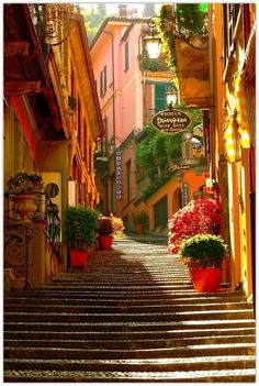 La antigua escalera al lago di Como, Bellagio, Italia. Places Around The World, The Places Youll Go, Places To Go, Around The Worlds, Lac Como, Bellagio Italie, Beautiful World, Beautiful Places, Beautiful Streets