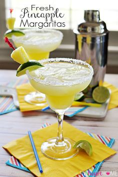 Fresh Pineapple Margaritas ~ made with fresh lime juice and pineapple purée, these are perfect for celebrating Cinco de Mayo