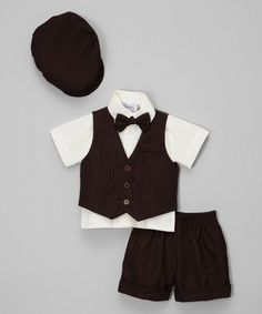 Look at this Dark Brown & Ivory Button-Up Set - Infant, Toddler & Boys on #zulily today!