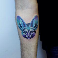 Fennec Fox by Sasha Unisex Tattoo Sleeve Designs, Sleeve Tattoos, Beautiful Tattoos, Cool Tattoos, Amazing Tattoos, Piercing Tattoo, Piercings, Fox Tattoo, Jewelry Tattoo
