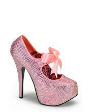 Bordello Baby Pink Rhinestone Stilettos | Pinup Shoes | Bordello Platforms | The Atomic Boutique.com