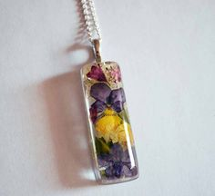 Pressed Flower Jewelry Real Flowers Resin Pendant Necklace op Etsy, 15,29 €