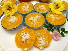 ขนมฟักทอง พร้อมเสิร์ฟ Pumpkin, Fruit, Cake, Desserts, Food, Dessert Ideas, Chef Recipes, Cooking, Tailgate Desserts
