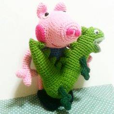 George Pig and Mr. Dinosaur. Crochet with free pattern from internet.