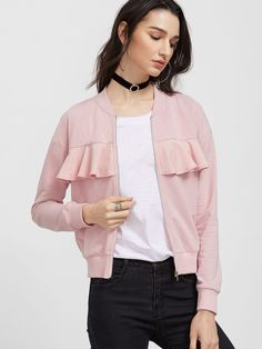 Shein Pink Ruffle Trim Zip Up Jersey Bomber Jacket Look Fashion, Girl Fashion, Fashion Outfits, Fashion Trends, Pink Bomber Jacket, Make Your Own Dress, Ballet Fashion, Mode Chic, Jackets For Women