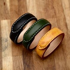罐手制 多脂植鞣鞍革 手工牛皮双面缝四合扣手镯手环定制