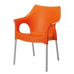 Stapelstuhl Vegas - Aluminium/Kunststoff - Silber/Orange