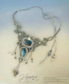 Kachina necklace, freeform macramè with awesome labradorite cabochon by happyland