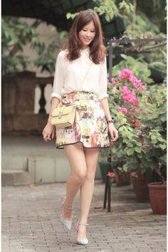 mustard Chicwish skirt - light yellow Valentino bag