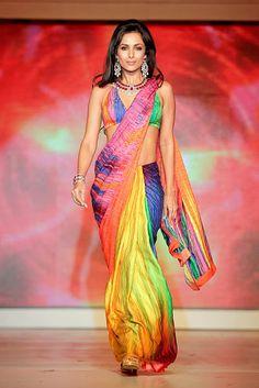 rainbow coloured sari