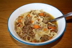 Noodles and Ground Beef Soup