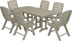 Trex Outdoor Furniture by Polywood 7-Piece Yacht Club Highback Dining Set, Sand Castle by Trex Outdoor Furniture by Polywood, http://www.amazon.com/dp/B007OZYVFO/ref=cm_sw_r_pi_dp_D3tlrb0BHM59K