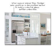 decorative ledge over fridge instead of empty cabinets