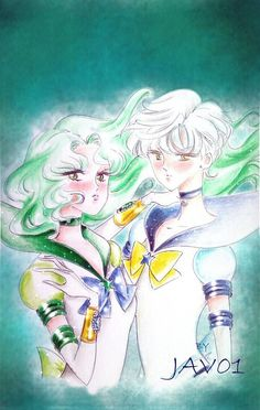 sailor Uranus and sailor Neptune by ~zelldinchit