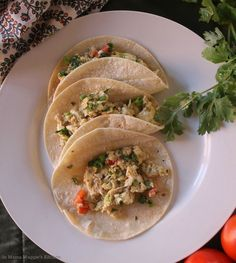 Huevos Rancheros Tacos, a spicy and yummy Mexican food brunch or breakfast idea. By Mama Maggie's Kitchen