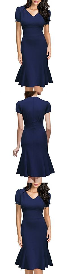 Miusol Women's Official V-Neck Retro Cap Sleeve Fitted Business Cocktail Dress,Navy Blue,Small