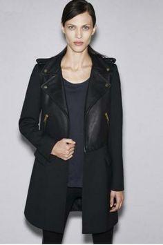Stitching leather coat