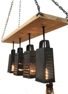 Kitchen Light Fixture Made frm Cheese Graters Old Fashioned on Wood w Chain #TheKingsBay #Cottage