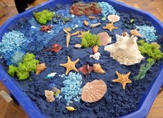 Learning and Exploring Through Play: 44 Tuff Spot Play Ideas Childcare Activities, Nursery Activities, Toddler Activities, Sea Activities, Indoor Activities, Summer Activities, Family Activities, Sand Tray, Water Tray