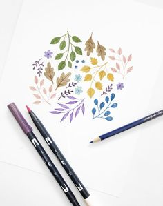 Create this Floral Illustration with Tombow Dual Brush Pens and 1500 Colored Pencils Archer and Olive Tombow Markers, Brush Pen Art, Watercolor Brush Pen, Tombow Dual Brush Pen, Wreath Watercolor, Best Brush Pens, Coloring Brush Pen, Brush Drawing, Drawing Art