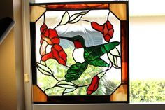 Stained Glass Green Iridized Waterglass Humming Bird on Trumpet Flower - Window Panel - Totally Handmade - Gift for Mom - pinned by pin4etsy.com