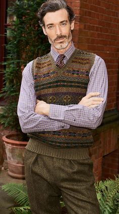 Older Mens Fashion, Preppy Mens Fashion, Men's Fashion, Roll Neck Sweater, Men Sweater, Ivy League Style, Most Stylish Men, Country Attire, Checked Trousers