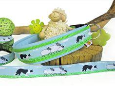 """Halsband """"Sheeps"""", mit Kunstleder - Halsband, Geschirr, Leine selbst gestalten - peppetto.de"""