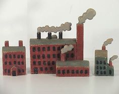 GORDON SWENARTON of fish decoy fame - Group of 2001 Wooden Buildings, Factories