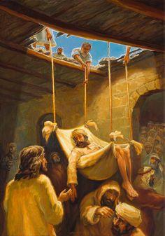 A paralyzed man let through the roof Jesus Christ Painting, Jesus Art, Christian Artwork, Christian Pictures, Pictures Of Jesus Christ, Bible Pictures, Jesus Photo, Jesus Is Life, Bible Illustrations