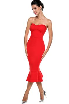 ACEVOG Sexy Women Ladies Strapless Pad Backless Mermaid Party Pencil Mid-Calf Dress
