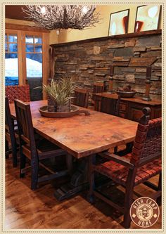 copper dining room table love the stone wall behind the table - Copper Kitchen Table