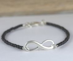 Black Bead and Silver Infinity Bracelet, Silver Bracelet, Infinity Bracelet, Seed Bead Bracelet