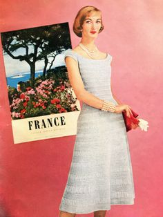 1950's Crochet Dress Pattern, Dainty After-Five Dress