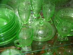 Green Depression Glass. I have a lot of green.