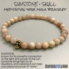 Yoga Bracelets Meditation Tibetan Buddhist Beaded Mala Men & Women. Sunstone Skulls.